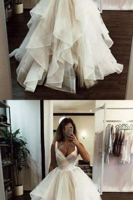 White v neck tulle long prom dress, white