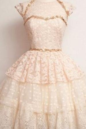 Cap Sleeves Short Handmade Lace Sparkly Short Homecoming Dress