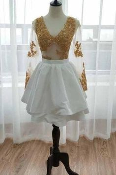 Long Sleeve V Neck White Homecoming Dresses, Gold Sequins V Neck Short Prom Dress