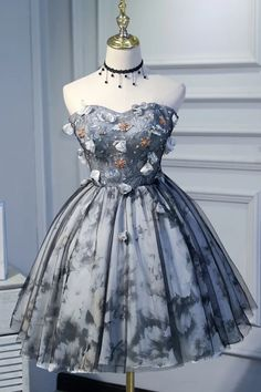 Princess Strapless Short Homecoming Dress with Flowers, Appliques Puffy Cocktail Dress