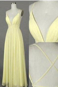 Yellow chiffon V-neck open back long dress