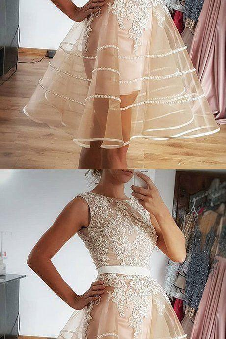 Simple pretty champagne tulle lace short prom Dress