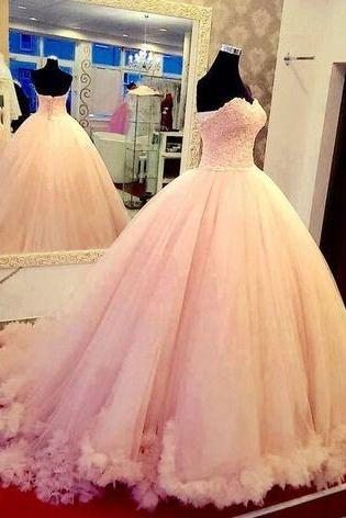 New Arrival Ball Gown Blush pink Prom Dresses,Floor-Length Prom Dresses,Sweet 16 dresses,lace Graduation Gowns, Satin prom Dresses