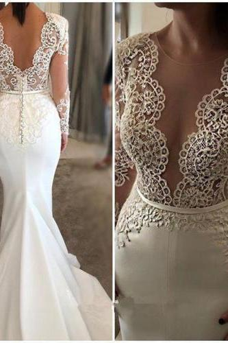 New Arrival Long Sleeve Scoop Neck Mermaid Backless white Wedding Dresses
