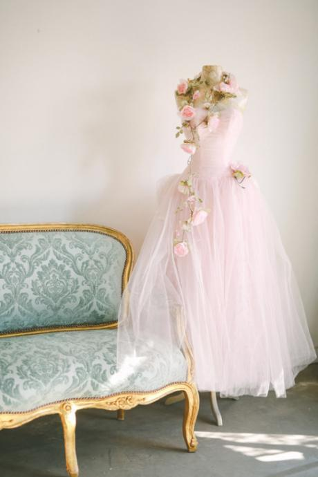 Pink Tulle Sweetheart Strapless Floor Length Wedding Gown