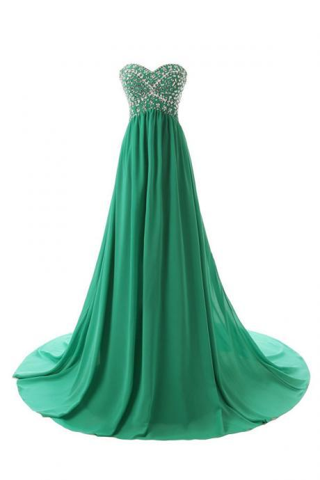 Gorgeous A-Line Sweetheart Sweep Train Empire Bridesmaid/Prom/Homecoming Dress With Beading