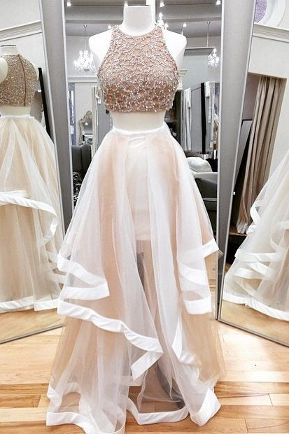 Sexy Beading Two Pieces Prom Dress,Tulle Two Pieces Prom Dress,Two Pieces Prom Dress 2016,High Quality Two Pieces Prom Dress,Two Pieces Evening Dress