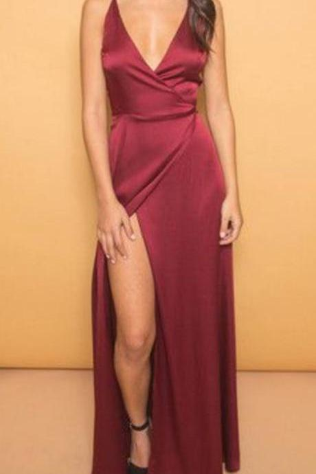 Elegant Prom Dresses,New Arrival Burgundy Evening Dress,Long Prom Dress,Formal Prom Dress,Party Women Dress