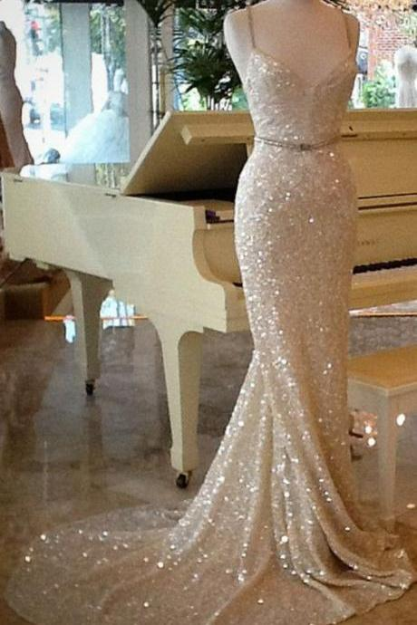 Gorgeous Champagne Prom Dresses,Sexy Strapless Merrmaid Prom Dress,Sequins Prom Dress,Formal Prom Dress,Long Train Evening Dress