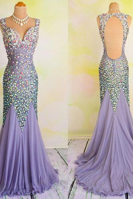 Sleeveless Crystal Embellished Mermaid Long Prom Dress, Evening Dress Featuring Open Back