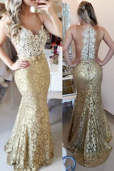 Champange Prom Dress, Lace Prom Dress, Lace Evening Dress, Prom Gowns,Illusion Mermaid Sweep Train Champagne Prom Party Dress With Bow,Evening Gowns