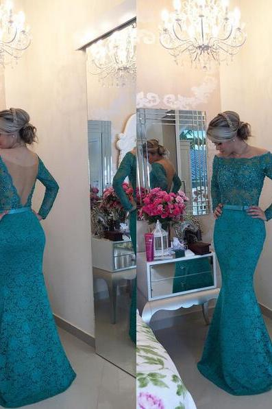 Charming Prom Dress,Long Sleeve Prom Dress,Mermaid Beadings Lace Prom Dress,See Through Prom Dress,Long Sleeve Mermaid Lace Evening Dress,Off the Shoulder Prom Dress,Green Prom Dress