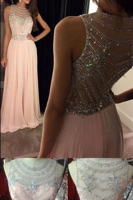 New Arrival Prom Dress Evening Dress Prom Gowns, Formal Women Dresses,chiffon Party Dress,pink Prom Dresses,Long Prom Dresses