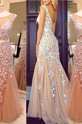 New Arrival Women Dress,Champagne Mermaid Prom Dresses with White Lace Appliques, Cap Sleeve Prom Dress with Fit and Flare Tulle Skirt