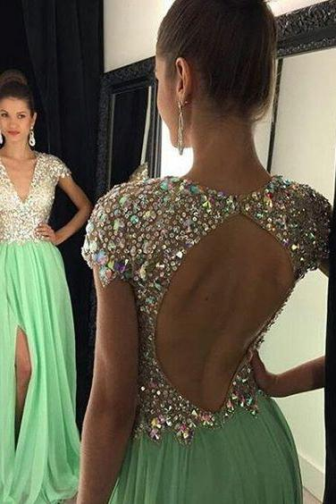 Simple Prom Dresses,chiffon Prom Dresses,Bug Green prom gowns,backless sparkle evening gowns