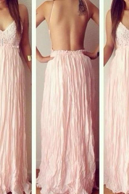 Simple Prom Dresses,Prom Dresses,Charming Prom Dress,Sexy Prom Dress,pink Prom Dress,Long Evening Dress,lace Formal Gown