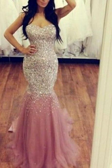 Simple Prom Dresses,Prom Dresses,Charming Prom Dress,Sexy Prom Dress,pink Prom Dress,Long Evening Dress,mermaid Formal Gown