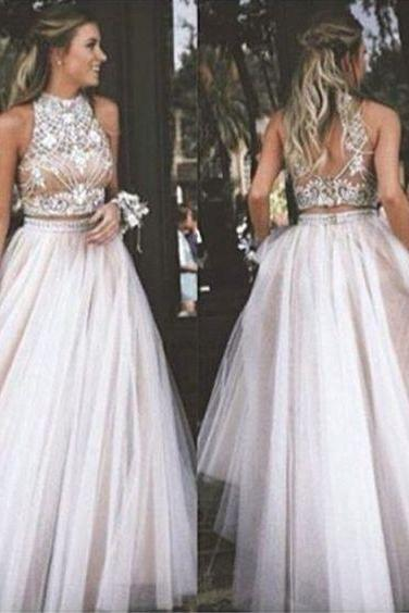 modest Prom Dresses,Prom Dresses,Sexy Two Piece Prom Dress Tulle with Rhinestone Prom Dresses 2016,Modest Prom Dress,Long Prom Women Dress,Vintage Party Dresses,Charming 2 Piece Evening Dress