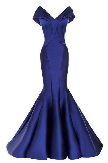 modest Prom Dresses,Prom Dresses,Prom Dress,Prom Dress,Long Prom Dress,Satin Prom Dress,Off-the-shoulder Neckline Prom Dress,Mermaid Evening Dresses, Navy Prom Dress