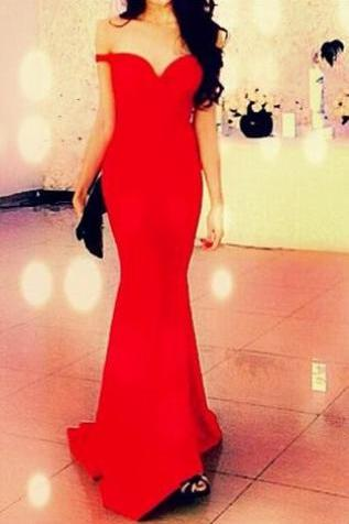 Simple Prom Dresses,Prom Dresses,Mermaid Evening Dress Red Sleeveless Backless Formal Prom Evening Gown Prom Dress
