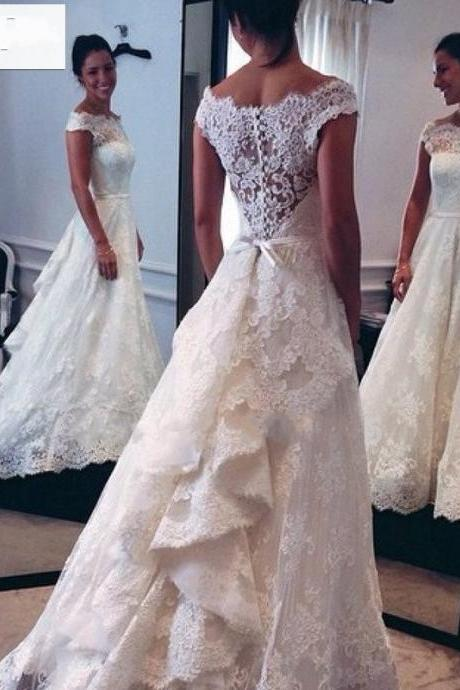 Vintage Wedding Dress Sexy Boat Neckline Long Bridal Dresses Wedding Gown Lace Wedding Dress