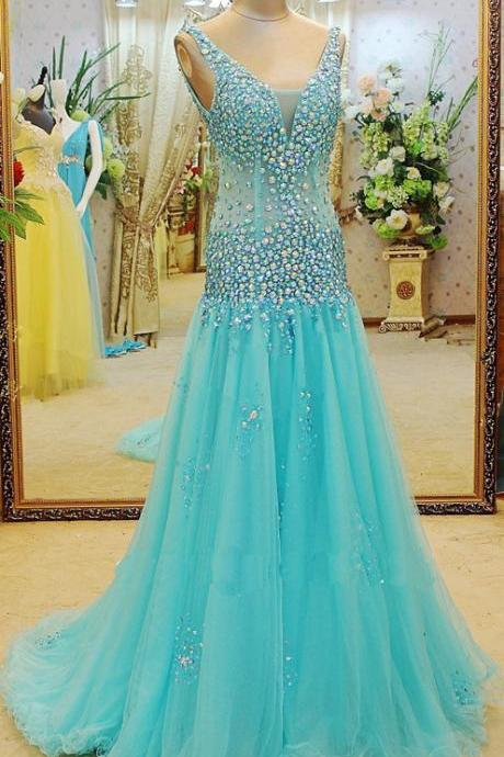 prom dresses,tulle evening gowns,mermaid prom gowns, 2017 blue evening dress