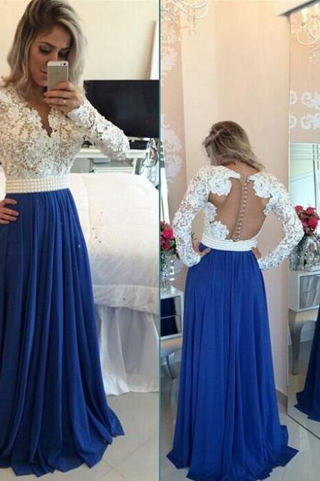 2017 New Arrival Prom Dress,Pears Long Prom Dress,Prom Gowns,Prom Evening Dress,A line Evening Dress,Formal Dress,Party Dress,Prom Dress,Royal Blue Prom Dress