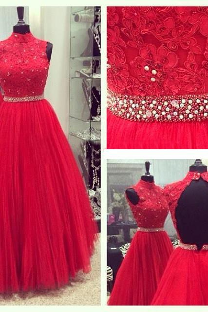 prom dresses,New Red Tulle Prom Dress,Red Appliques A Line Formal Evening Gown Dresses,Backless Prom Dress