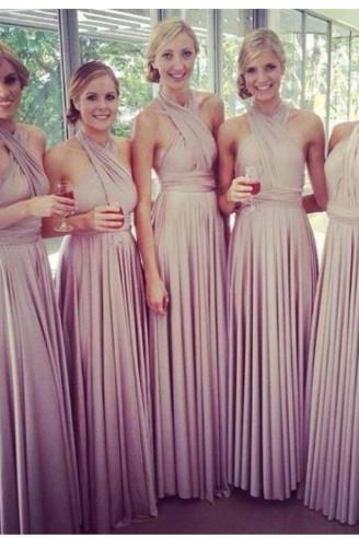 Long Bridesmaid Dresses Halter A-Line Chiffon Backless Floor-Length Prom Dress Party Gown