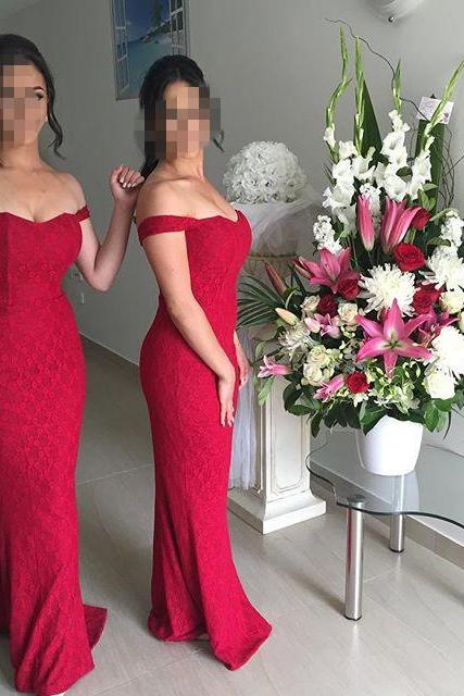 2017 New Arrival Prom Dress,Long Prom Dress,Sweetheart Red Mermaid Prom Dress Long Lace Formal Evening Dress,Off Shoulder Prom Gown
