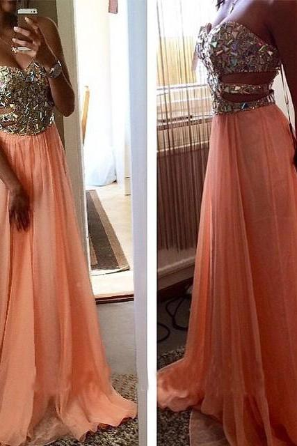 2017 New Arrival Prom Dress,Long Prom Dress,Sexy Prom Dress, New Crystals Evening Gowns Floor Length Chiffon Prom Dress Formal Gowns