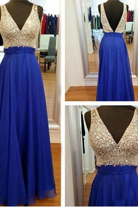 2017 New Arrival chiffon A-line beading and sequins long prom dress, sexy V-neck long formal dresses
