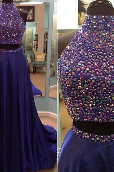Halter Beaded Two-Piece A-line Long Prom Dress, Evening Dress