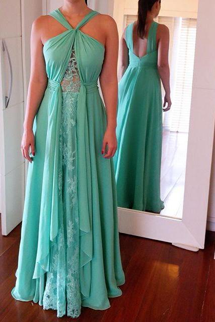 Beautiful A Line Halter Prom Dresses New Appliques Backless Floor Length Party Evening Gowns