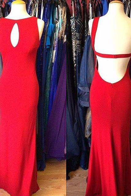 Red Sleeveless Keyhole Front Mermaid Long Prom Dress, Evening Dress Featuring Open Back