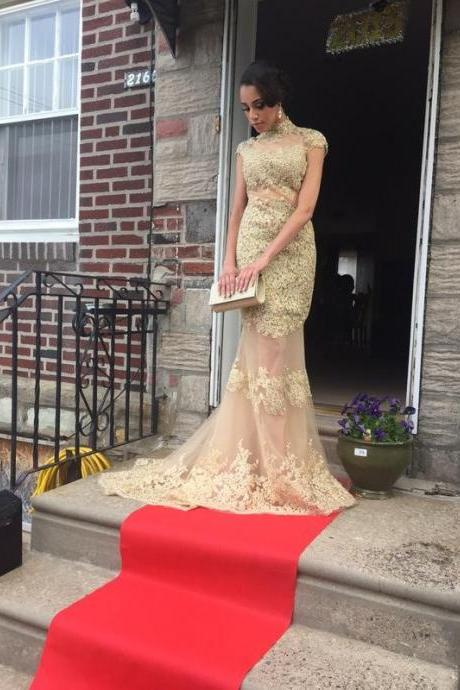 Sexy Prom Dress,Gold Prom Dresses,Prom Dress,Lace Prom Dresses,Sexy Dress,Charming Prom Dress,Gold Formal Dress,Lace Prom Gown For Teens