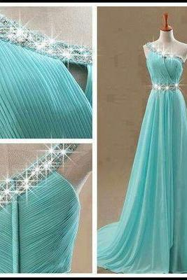 Sexy Prom Dress, One shoulder Prom Dresses,Blue Prom Dress,Chiffon Prom Dresses,Sexy Dress,Charming Prom Dress,Formal Dress,sparkle Prom Gown For Teens
