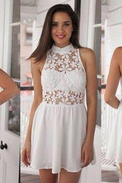 Sexy Short Prom Dress,white Homecoming Party Dress Girls, Graduation Gowns,Lace cocktail gowns