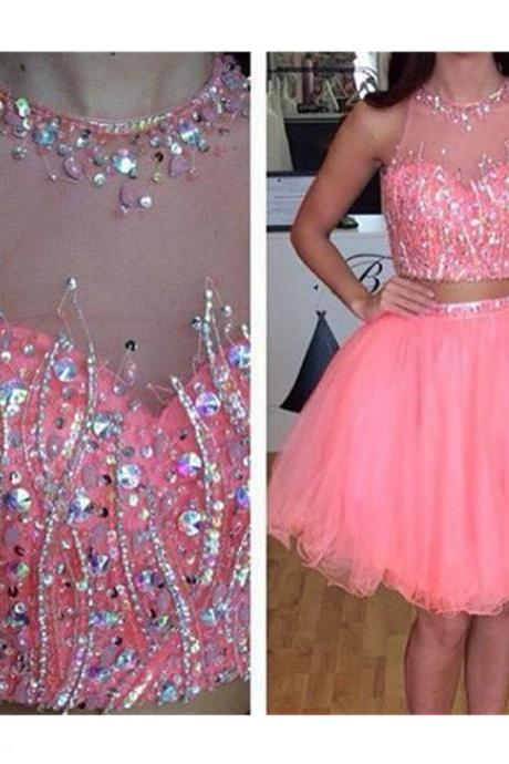 Homecoming Dresses,Two Pieces Prom Dresses,Pink Homecoming Dresses,Tulle Homecoming Dress,Pretty Party Dresses,Cute Dresses