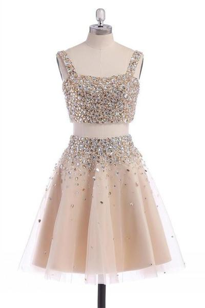 Two Piece Beaded Embellished Short Tulle Dress - Homecoming, Party Dress