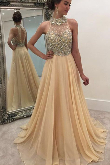 Sexy Prom Dress,chiffon Prom Dresses,modest Prom Dress,2017 Prom Dresses,Sexy Dress,Charming Prom Dress,Formal Dress,champagne Prom Gown For Teens
