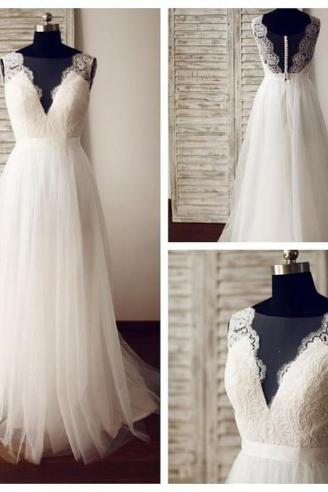 Sheer Sleeveless Lace A-line Floor-Length Wedding Dress