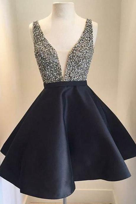 Short Black A-Line Homecoming Dress Featuring Sequin Embellished Plunge V Bodice