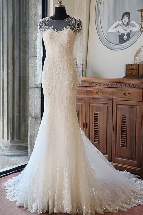 New Arrival Full Sleeve Wedding Dress,Mermaid Wedding Dresses,Wedding Gown