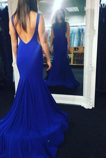 Long prom dresses,Mermaid Prom Dress,Long Evening Dress,Formal Dress,Backless Prom Dresses,Royal Blue evening gowns