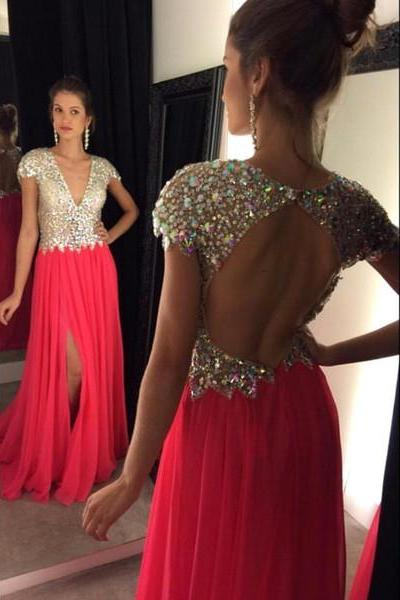 Red Sexy A-Line Backless Chiffon Beading Graduation Prom Dresses slit open backs Evening Dress