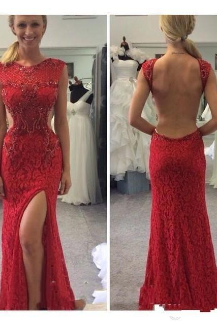 Long prom dresses,backless evening gowns, lace prom gowns,red prom gowns,2017 new style fashion prom gowns