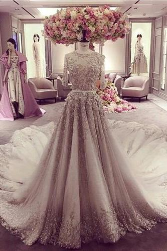 Lace Appliques Crew Neck Half Sheer Sleeves Floor Length Tulle Wedding Dress Featuring Train