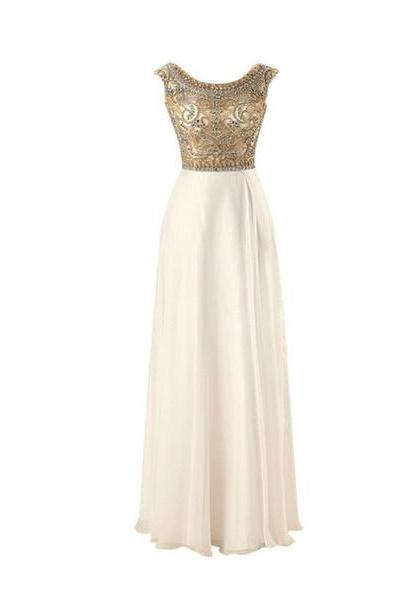 White Prom Dresses with Gemstones, Sleeveless Halter Prom Dresses,White evening Gowns