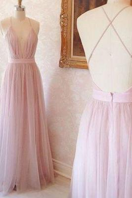 Pink Maxi Prom Dress with Open Back and Plunging Neckline